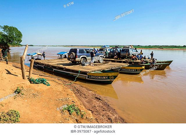 Four wheel drive car on a ferry, near Belon'i Tsiribihina, Morondava, Toliara province, Madagascar