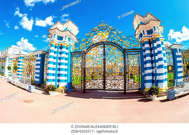 ST. PETERSBURG, RUSSIA - AUGUST 4, 2015: Openwork gate of Catherine Palace - the summer residence of the Russian tsars. Tsarskoye Selo, Russia