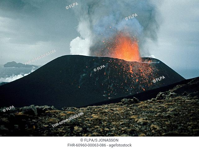 Volcanic eruption, red-hot lava, smoke and ash, Eldfell Volcano, Heimaey, Westmann Isles, Iceland, 1973