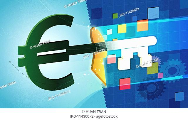 Euro sign shaped business finance key