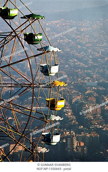 The ferris wheel on mountain Tibidabo, Barcelona, Spain