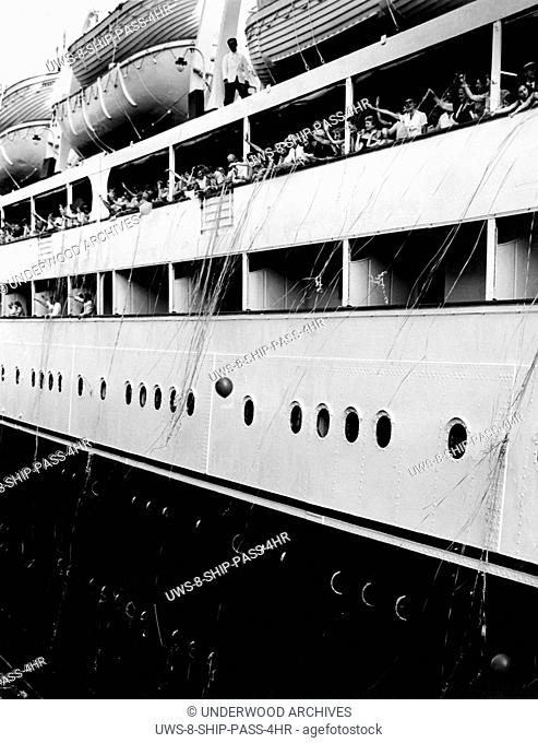 World: c. 1946. The SS Vulcania of American Export Lines prepares to leave port