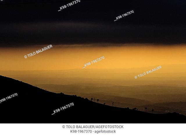rolling plains of Beira Litoral from Gouveia, Serra Da Estrela, Beira Alta, Portugal, Europe