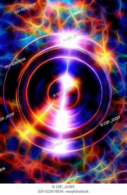 Audio music Speaker and fractal effect with note. Cosmic space and stars, blue cosmic abstract background