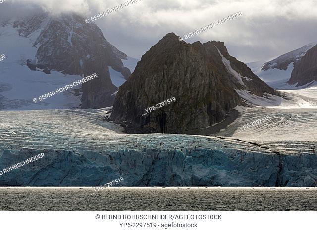 Hornsund with mountains and glacier, Spitsbergen, Svalbard