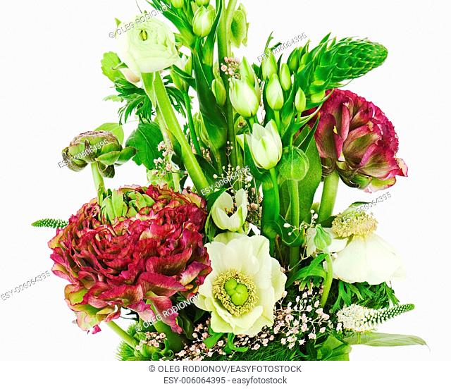 Fragment of colorful bouquet isolated on white background