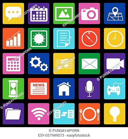 Application colorful icons on black background, stock vector