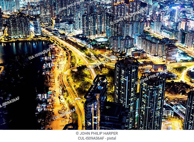 Aerial of Kowloon at night, with light trails, Hong Kong, China