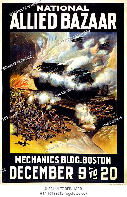First World War, WWI, World War I, world war, war, Europe, propaganda, poster, USA, American, propaganda poster, fight scene, trench, tank, explosion, bazaar