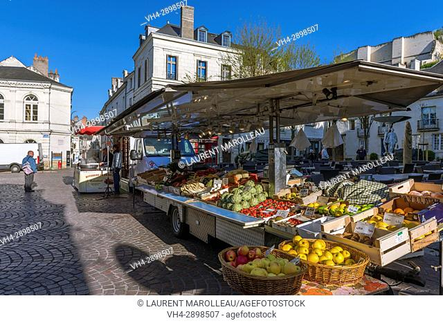 Fruits and Vegetables on Market Stall. Chinon, Indre-et-Loire, Central Region, Loire Valley, France, Europe