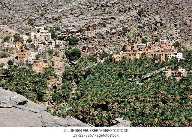 Oasis Al Misfah in the Hajar Mountains, Sultanate of Oman