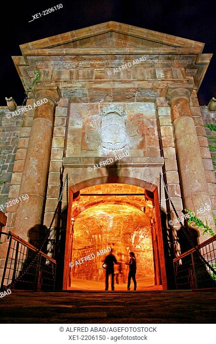 Gate of Montjuic Castle at night, Catalonia, Spain