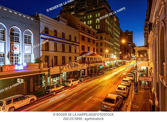 Long Street at night. Cape Town. Western Cape. South Africa