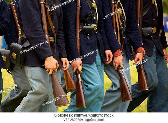 Union soldiers on the march, Civil War Reenactment, Willamette Mission State Park, Oregon