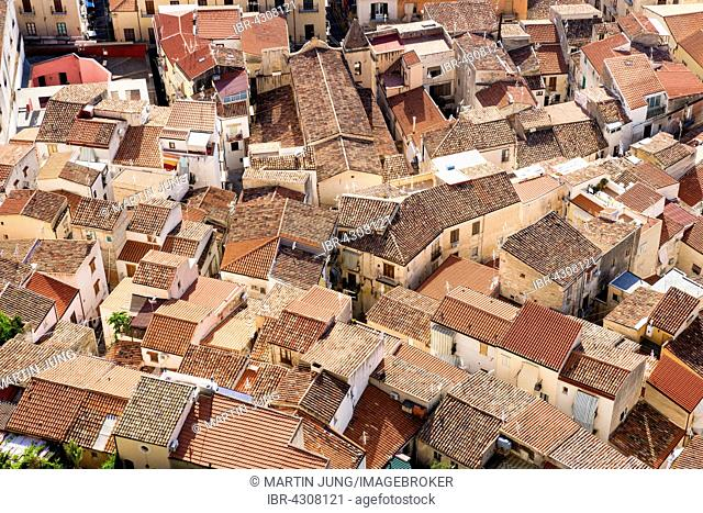 View from Rocca di Cefalù on the roofs of the historic centre, Cefalù, Province of Palermo, Sicily, Italy