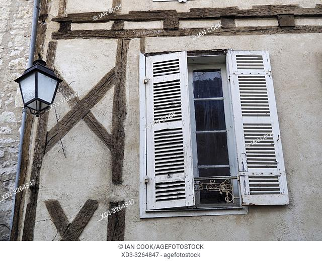 shuttered window and street lamp, Issigeac, Dordogne Department, Nouvelle Aquitaine, France