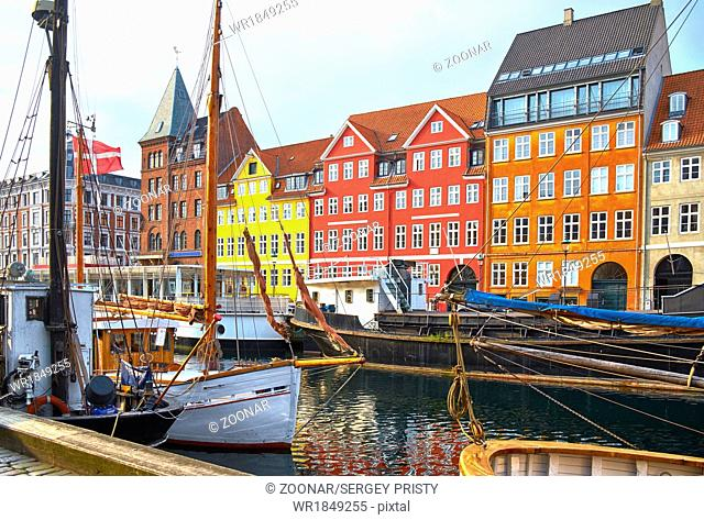 The boats and ships in Nyhavn, Copenhagen