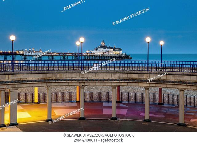 Evening on the seafront in Eastbourne, UK