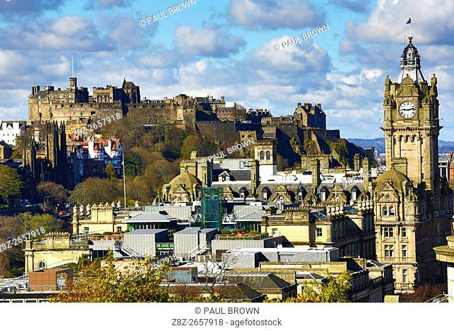 General city skyline view from Calton Hill showing the Balmoral Hotel clock tower and Edinburgh Castle in Edinburgh, Scotland, United Kingdom