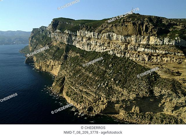 High angle view of cliffs along the sea, Provence, France