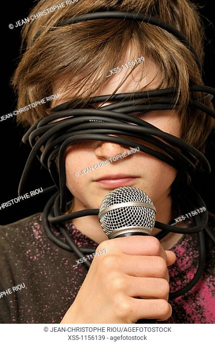 boy sightless with a microphone