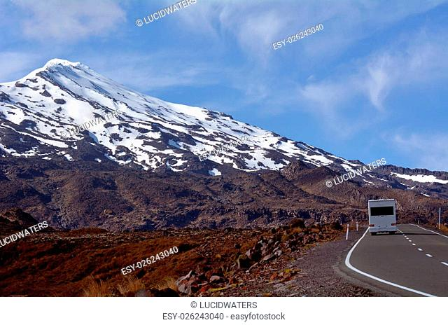 NATIONAL PARK, NZ - NOV 25 2014:Campravan drive up Mount Ruapehu.About 1M people visit the park every year, doing hiking and climbing in summer