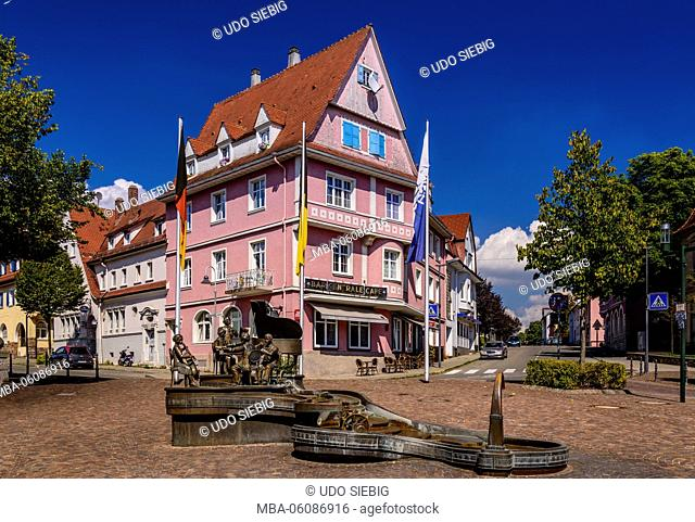 Germany, Baden-Wurttemberg, Upper Danube, Baar, Donaueschingen, Town Square, Musician Fountain