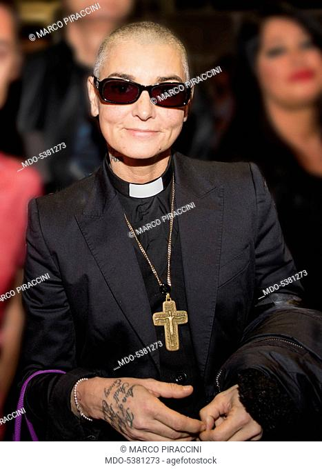 The singer-songwriter Sinéad O'Connor dressed as a priest. Milan, Italy. 8th October 2014