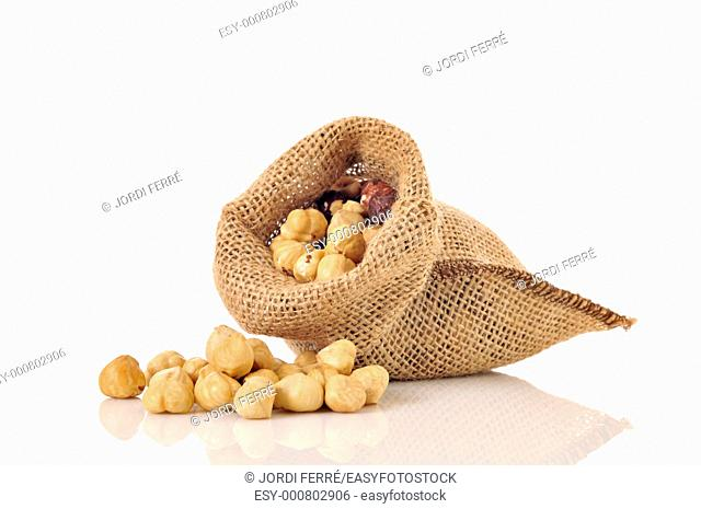 small bag of roasted hazelnuts