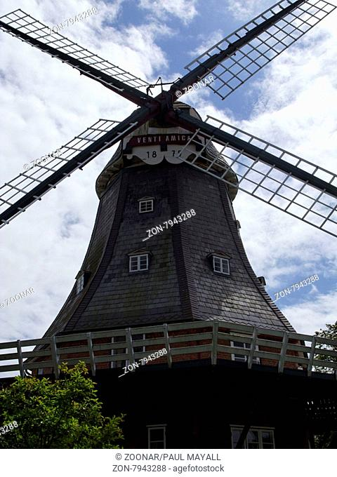 Venti Amico Windmill built in 1879 in the Town of Wyk on the North Frisian Island of Fohr Germany