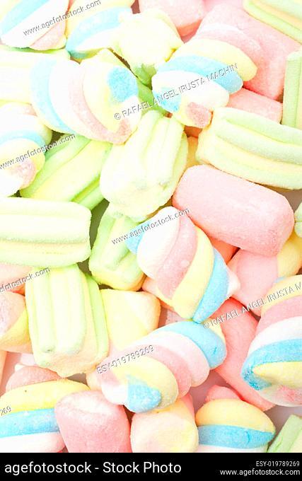 Multicolored marshmallows background