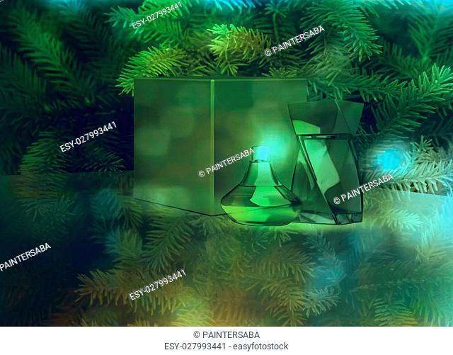 Perfume and gift box on fir tree background