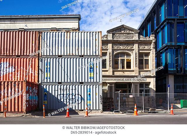 New Zealand, South Island, Christchurch, post-2011 earthquake rebuilding and cargo container buildings