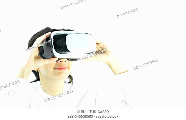 Happy Woman wearing virtual reality on isolated white background