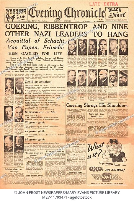 1946 Evening Chronicle front page Nazi leaders sentenced to death