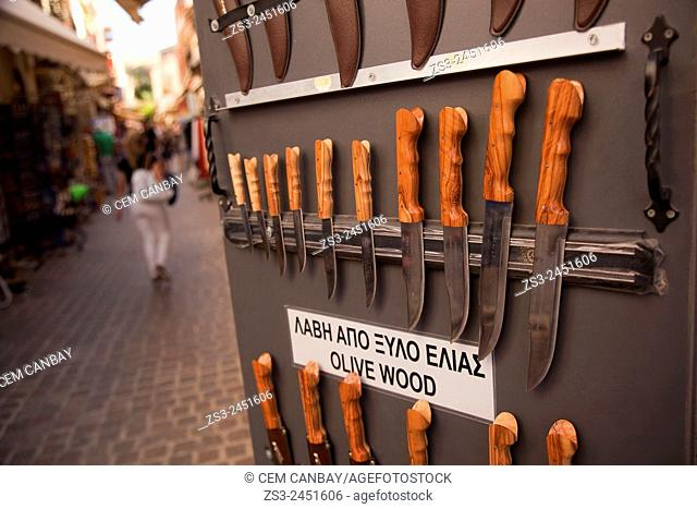 Traditional knifes for sale at the town center, Chania, Crete, Greek Islands, Greece, Europe