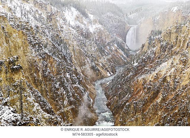 Lower Yellowstone River Falls in winter, The Grand Canyon of Yellowstone