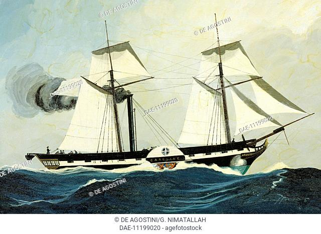 The steamship Caroline V, the first to cross the Atlantic, 1823. France, 19th century.  London-Greenwich, National Maritime Museum