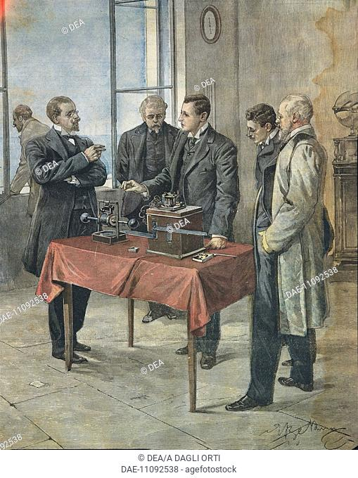 Guglielmo Marconi testing the wireless telegraphy across the English Channel. Illustration by Achille Beltrame (1871-1945) on the Italian newspaper 'La Domenica...
