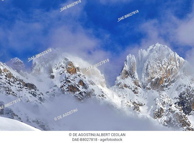 Rocky walls at San Pellegrino Pass, Fassa valley, Dolomites, Trentino-Alto Adige, Italy