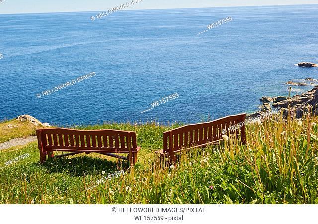Wooden clifftop seats on the Atlantic coast of Canada, Avalon Peninsula, Newfoundland, Canada