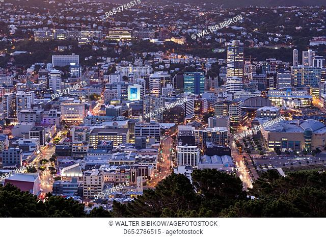 New Zealand, North Island, Wellington, elevated city skyline from Mt. Victoria, dusk