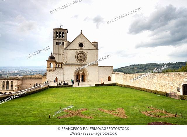 Facade of church after the storm. Assisi, Umbria. Italy