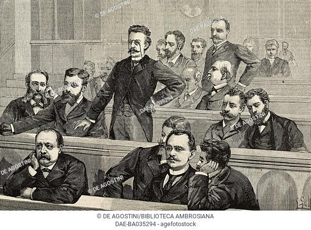 Deputy Andrea Costa responding to Minister Francesco Crispi, session in the Chamber of Deputies on March 21, 1890, Italy, drawing by A Foli