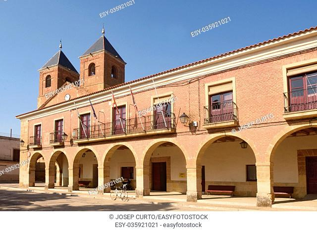 El Salvador church and town hall in Villanueva del Campo, Tierra de Campos Region, Zamora province, Castilla y Leon, Spain