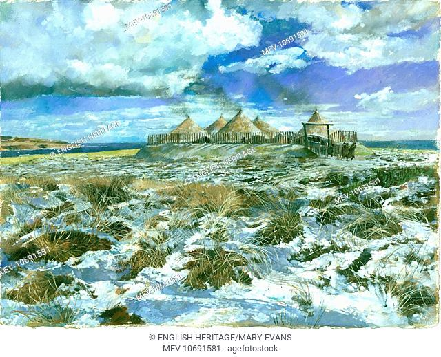 Scarborough Castle. Reconstruction drawing of the Iron Age headland settlement by Ivan Lapper