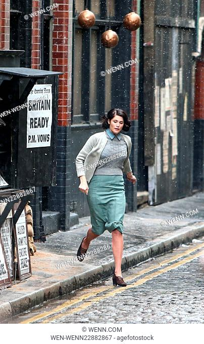 Gemma Arterton and Sam Claflin film a scene for the movie 'Their Finest Hour and a Half' in east London Featuring: Gemma Arterton Where: London
