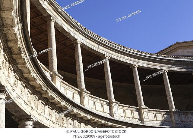Granada, Spain: Colonnade in the patio of the Palace of Charles V at the Alhambra Palace and Fortress