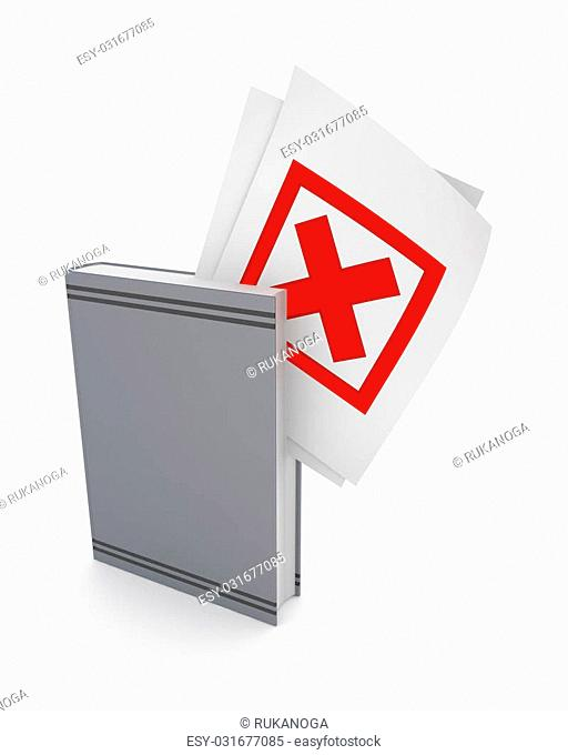 Red cross mark in a grey book.Isolated on white background.3d rendered