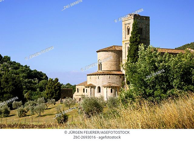 Abbey Sant Antimo and Castelnuovo dell Abate; near Montalcino, Tuscany, Italy